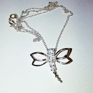 Sterling Dragonfly Cubic Zirconia Pendant w/Chain